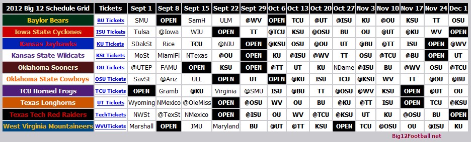 Printable Big 12 Football Schedule Grid